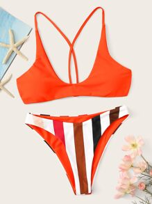 Self Tie Back Top With Striped Panty Bikini Set