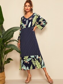 Polka Dot & Leaves Print Midi Dress