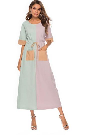 1ea07f8196 Color Block Dual Pocket Detail Drawstring Waist Dress
