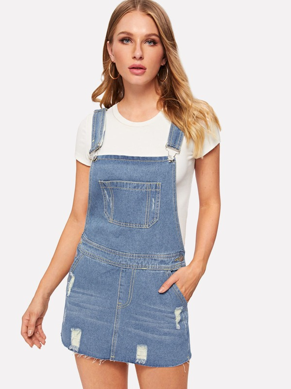 ab73203ac Ripped Raw Hem Denim Pinafore Dress