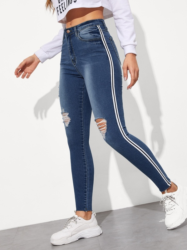 professional website good selling limited style Tuxedo Stripe Side Ripped Jeggings