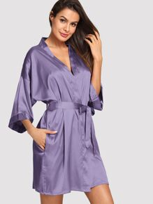 Satin Self Belted Robe