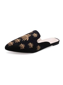 Embroidered Detail Suede Flat Mules
