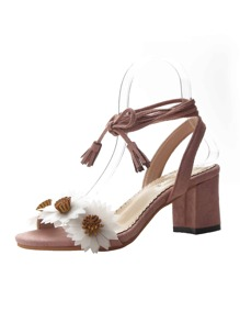 Floral Applique Chunky Heeled Sandals