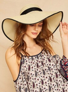 Big Bow Decor Contrast Trim Floppy Hat