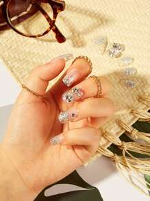 Rhinestone Decor Transparent Fake Nail & Tape 25pack