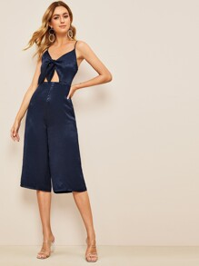 Knotted Front Peekaboo Satin Culotte Jumpsuit