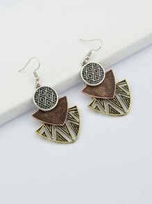 Silver Hollow Geometric Dangle Earrings