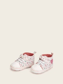 Baby Floral Pattern Lace-up Sneakers