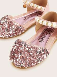 Baby Sequin Ankle Strap Flats