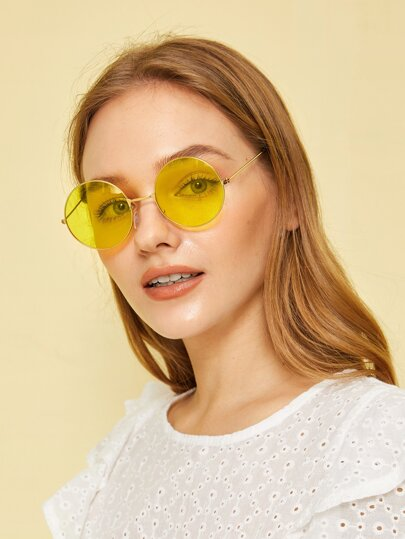 Round Frame Tinted Sunglasses