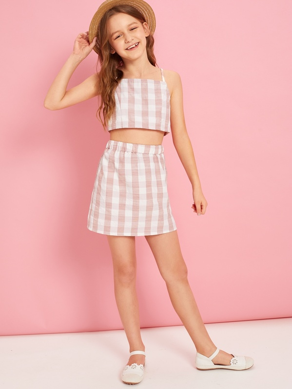 c480c0d7351 Girls Gingham Cami Top and Skirt Set