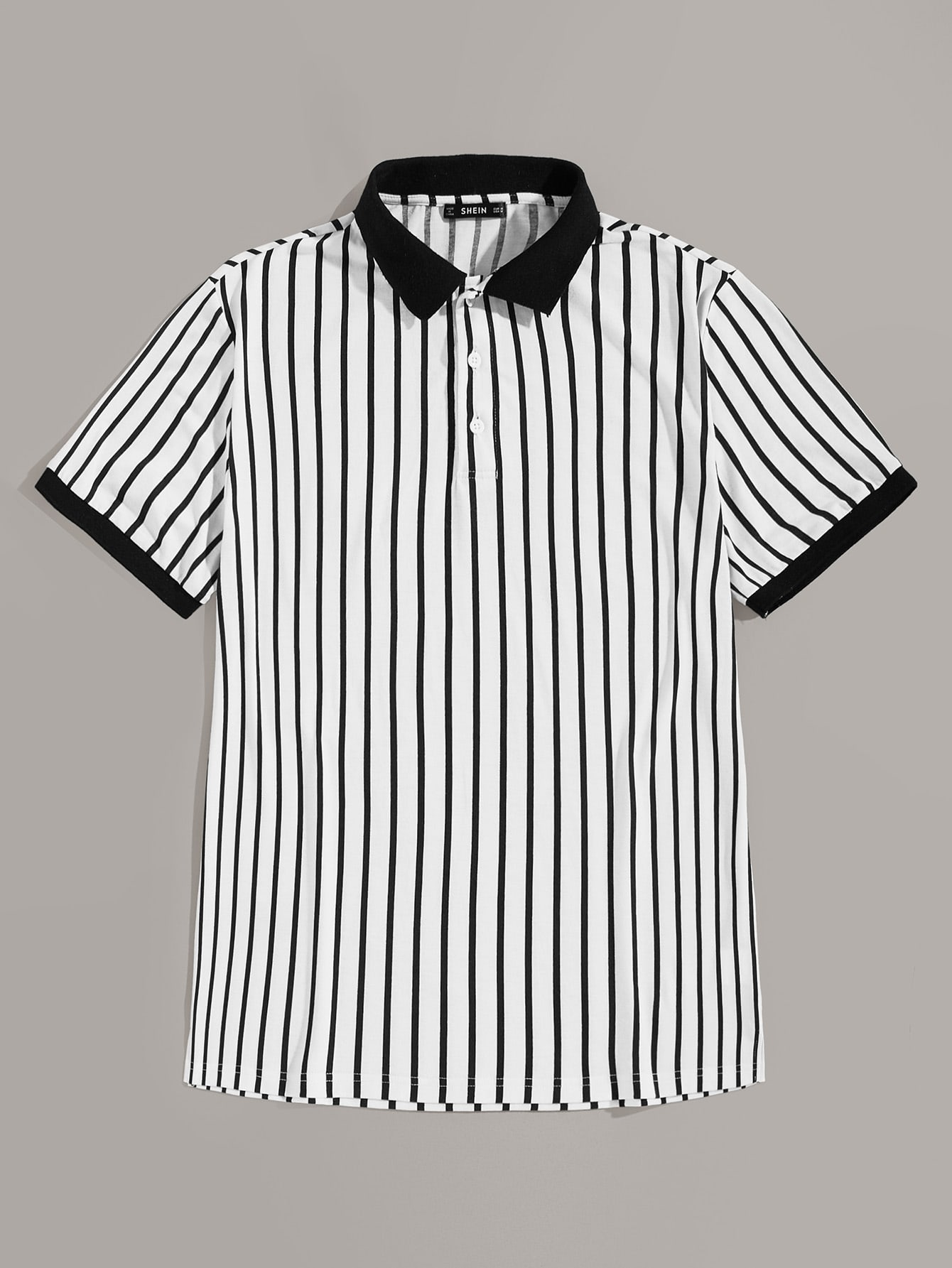 da4653db92 Guys Contrast Collar and Cuff Striped Polo Shirt | ROMWE