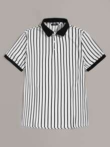 Men Contrast Collar and Cuff Striped Polo Shirt