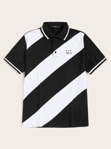 Men Letter and Star Print Two Tone Polo Shirt