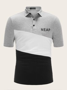 Men Letter Print Color-block Polo Shirt