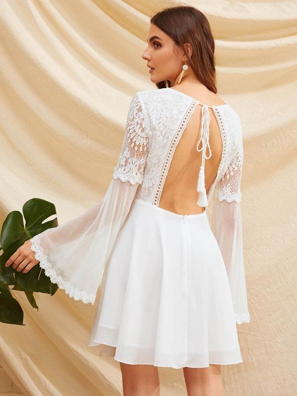 3b7cc6647a Knot Backless Lace Bodice Mesh Sleeve Dress | SHEIN