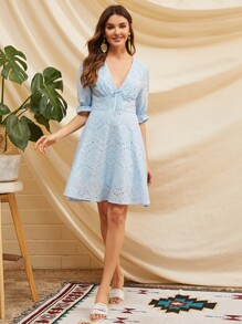 Plunging Neck Tie Front Ruffle Cuff Schiffy Dress