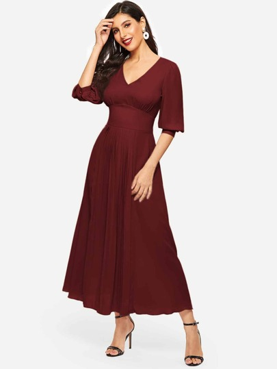 Puff Sleeve Wide Waist Pleated Front Dress