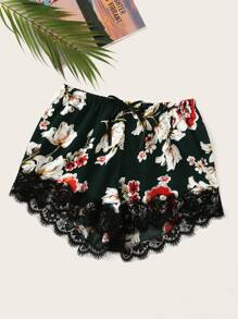 Plus Floral Print Contrast Lace Shorts