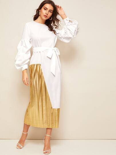 Lantern Sleeve Belted 2 In 1 Pleated Patchwork Dress