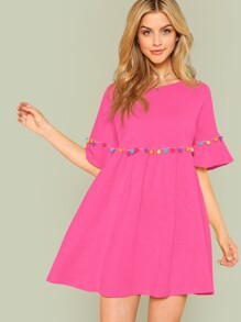 Neon Pink Colorful Pompom Detail Smock Dress