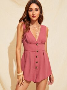 Plunging Neck Button Front Romper