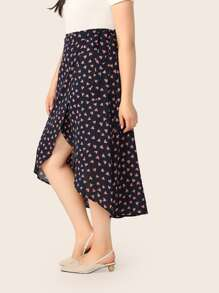 Plus Heart Print Asymmetrical Hem Wrap Skirt