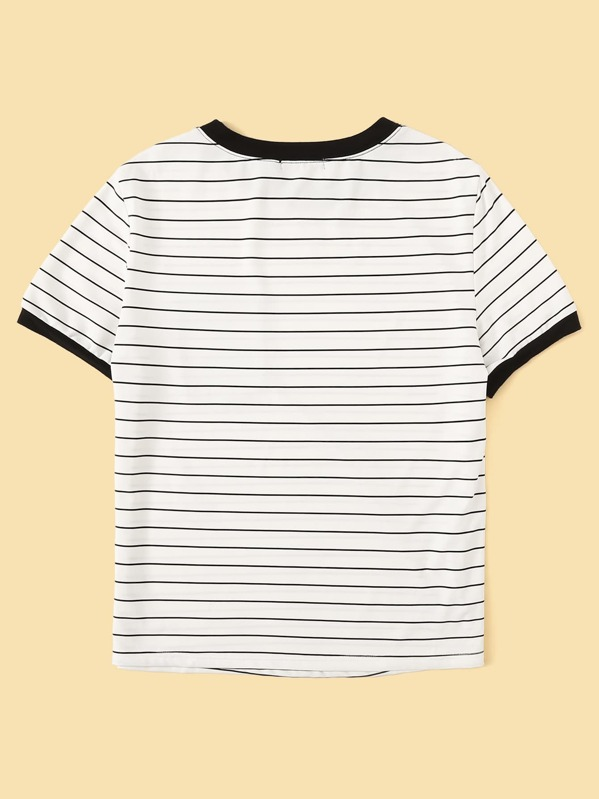 a33da956eb Floral Pocket Patched Striped Ringer Tee | SHEIN IN