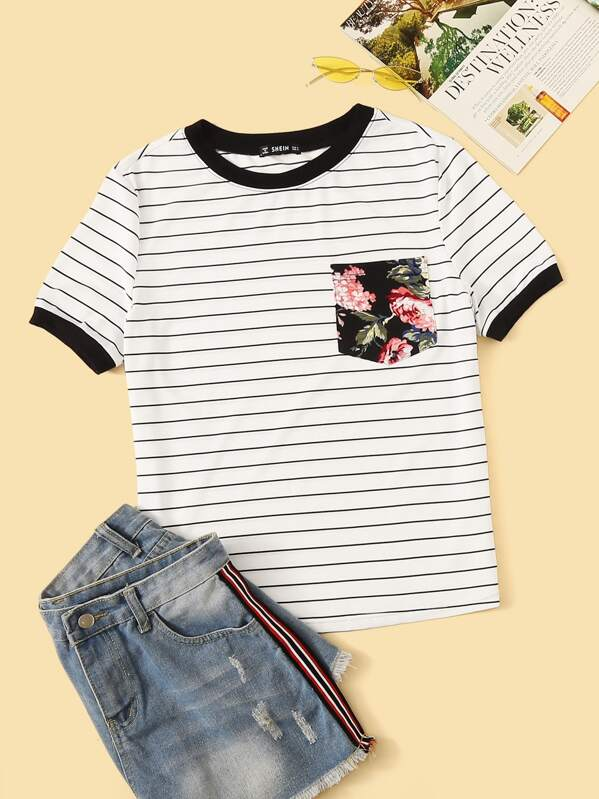5df18bffca Floral Pocket Patched Striped Ringer Tee