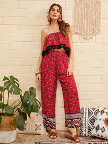 Tassel Trim Ditsy Floral Tube Top & Pants Set