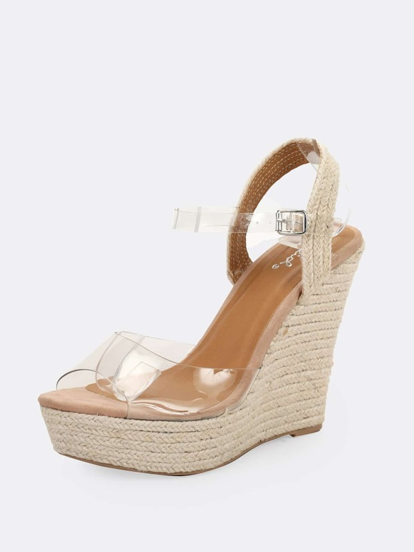 99eb857d5822 Clear Band Buckle Ankle Strap Jute Platform Wedges