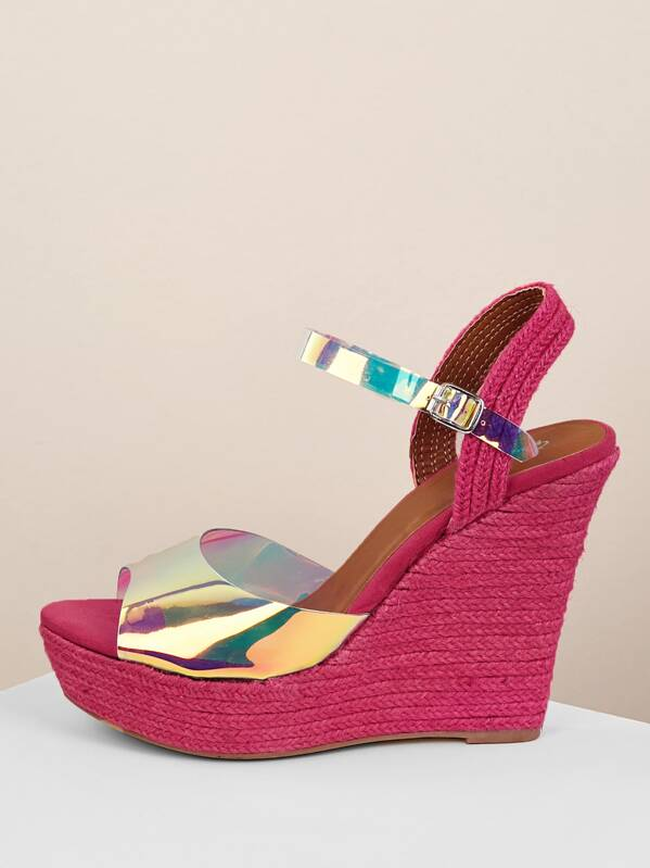 df091cc8018 Iridescent Strap Jute Wrap Platform Wedge Sandals
