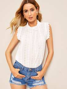 Eyelet Embroidery Curved Hem Solid Blouse