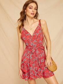 Ditsy Floral Ruffle Hem Belted Cami Dress