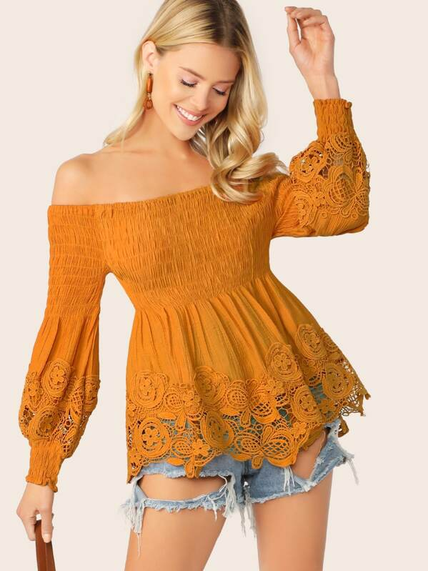 3ecae99fcd Smocked Off Shoulder Puff Sleeve Lace Blouse   SHEIN