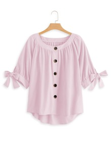 Plus Button Through Dip Hem Knot Cuff Blouse
