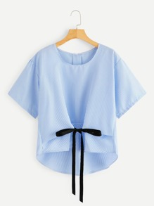 Plus Dip Hem Striped Knot Blouse