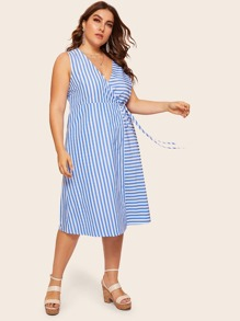 Plus Striped Wrap Tie Side Dress