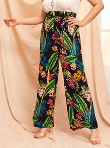 Plus Floral And Palm Tree Print Wide Leg Pants