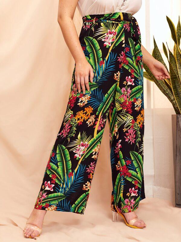 Plus Floral And Palm Tree Print Wide Leg Pants