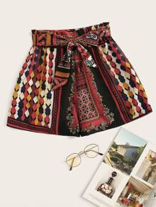 Plus Tribal Print Self Tie Shorts