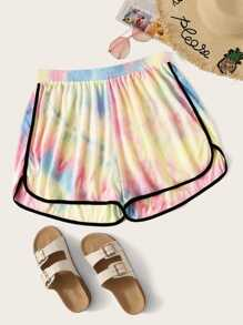 Plus Contrast Piping Tie Dye Dolphin Shorts