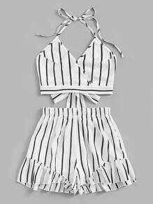 Plus Striped Halter Cami Top With Ruffle Hem Shorts