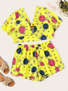 Plus Lemon Print Knot Top With Shorts