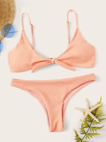 Tie Front Ribbed Top With Cheeky Bikini Set