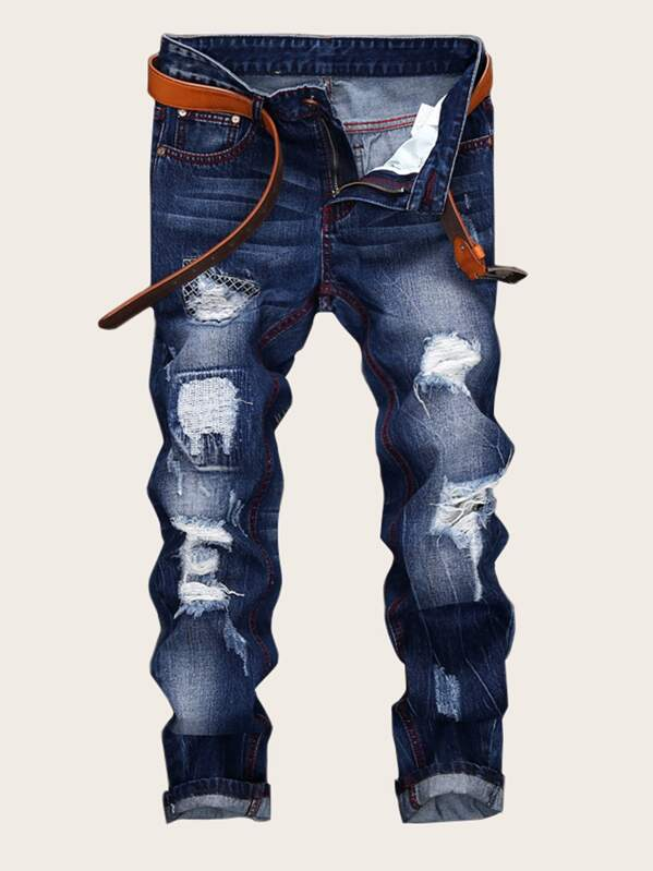 0d4c0137a6 Men Ripped Embroidery Skinny Jeans