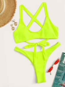 Neon Lime Lace-up Top With Cheeky Bikini Set