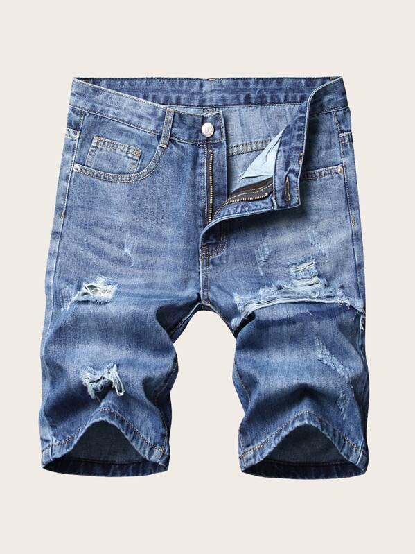9ae649a63c Men Ripped Bermuda Wash Denim Shorts