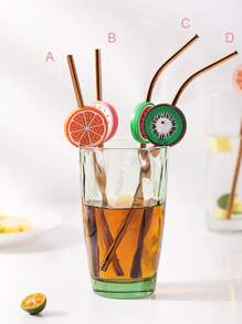 Fruit Straw Set 2pcs & Brush 1pc